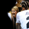 """University of Colorado Head Coach Linda Lappe talks to the Buff's during a time out in a game against Northern Arizona on Friday, Nov. 11, at the Coors Event Center on the CU campus in Boulder. CU won the game 84-60. For more photos of the game go to  <a href=""""http://www.dailycamera.com"""">http://www.dailycamera.com</a><br /> Jeremy Papasso/ Camera"""