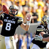 "University of Colorado quarterback Nick Hirschman throws a pass on Saturday, Oct. 22, during a football game against the University of Oregon at Folsom Field in Boulder. For more photos go to  <a href=""http://www.dailycamera.com"">http://www.dailycamera.com</a><br /> Jeremy Papasso/ Camera"