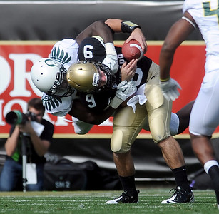 CU QB Tyler Hansen is sacked by Josh Kaddu in the first half in the Oregon game. For more photos of the game, go to www.dailycamera.com. October 22, 2011 / Cliff Grassmick