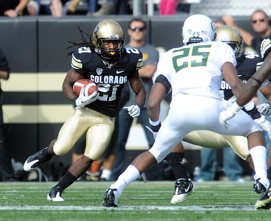 """D.D. Goodson running back kicks in the Oregon game.<br /> For more photos of the game, go to  <a href=""""http://www.dailycamera.com"""">http://www.dailycamera.com</a>.<br /> October 22, 2011 / Cliff Grassmick"""