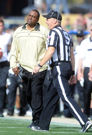 "CU coach, Jon Embree, disputes a call in the Oregon game.<br /> For more photos of the game, go to  <a href=""http://www.dailycamera.com"">http://www.dailycamera.com</a>.<br /> October 22, 2011 / Cliff Grassmick"
