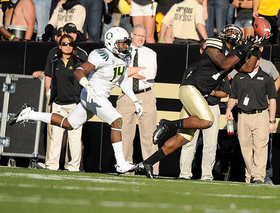 University of Colorado's Toney Clemons misses a pass on Saturday, Oct. 22, during a football game against the University of Oregon at Folsom Field in Boulder. CU lost the game 45-2. For more photos go to www.dailycamera.com Jeremy Papasso/ Camera