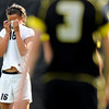 "University of Colorado's Bianca Jones shows her emotions after losing to Oregon State 3-1 on Sunday, Oct. 16, during a soccer game against Oregon State at Prentup Field on the CU campus in Boulder. For more photos of the game go to  <a href=""http://www.dailycamera.com"">http://www.dailycamera.com</a><br /> Jeremy Papasso/ Camera"