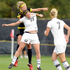 "University of Colorado'sKate Russell tries to head the ball over an Oregon State player on Sunday, Oct. 16, during a soccer game against Oregon State at Prentup Field on the CU campus in Boulder. For more photos of the game go to  <a href=""http://www.dailycamera.com"">http://www.dailycamera.com</a><br /> Jeremy Papasso/ Camera"