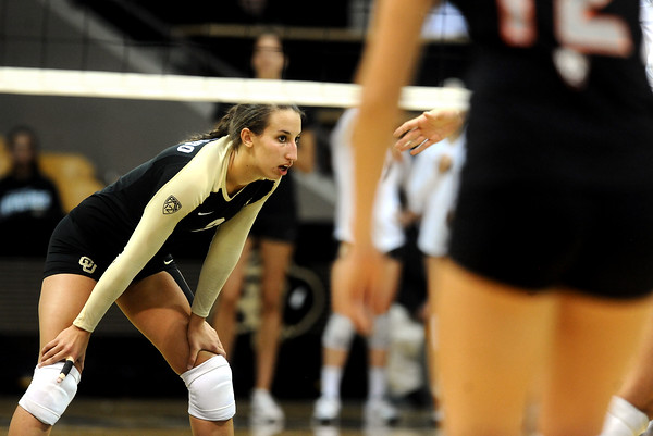"University of Colorado's Megan Beckwith waits for the serve on Saturday, Sept. 24, during a volleyball game against the Oregon State Beavers at the Coors Event Center on the CU campus in Boulder. For more photos of the game go to  <a href=""http://www.dailycamera.com"">http://www.dailycamera.com</a><br /> Jeremy Papasso/ Camera"