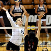"""University of Colorado's Nikki Lindow goes for a kill on Saturday, Sept. 24, during a volleyball game against the Oregon State Beavers at the Coors Event Center on the CU campus in Boulder. For more photos of the game go to  <a href=""""http://www.dailycamera.com"""">http://www.dailycamera.com</a><br /> Jeremy Papasso/ Camera"""