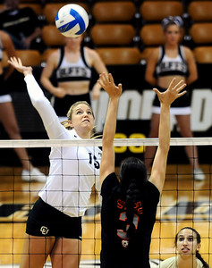 University of Colorado's Nikki Lindow goes for a kill on Saturday, Sept. 24, during a volleyball game against the Oregon State Beavers at the Coors Event Center on the CU campus in Boulder. For more photos of the game go to www.dailycamera.com Jeremy Papasso/ Camera