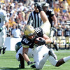 "University of Colorado's Kyle Slavin dives into the end zone for a touchdown during a game against Sacramento State on Saturday, Sept. 8, at Folsom Field in Boulder. For more photos of the game go to  <a href=""http://www.dailycamera.com"">http://www.dailycamera.com</a><br /> Jeremy Papasso/ Camera"