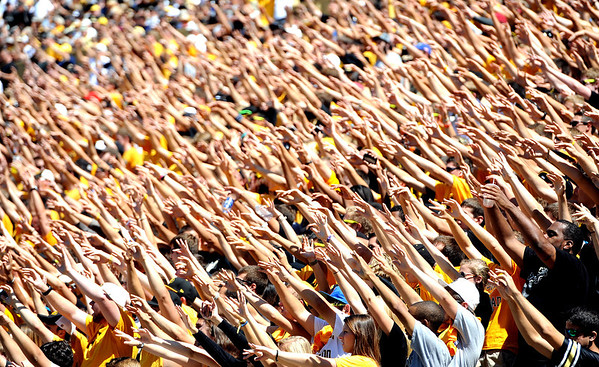 """CU fans sake their keys during the kickoff of the Sacramento State game.<br /> For more photos of the game, got o  <a href=""""http://www.dailycamera.com"""">http://www.dailycamera.com</a>.<br /> Cliff Grassmick  / September 8, 2012"""