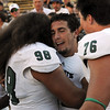 "Sac State QB, Garrett Safron, center gets a hug from Edmund Faimalo after the win over CU.<br /> For more photos of the game, got o  <a href=""http://www.dailycamera.com"">http://www.dailycamera.com</a>.<br /> Cliff Grassmick  / September 8, 2012"