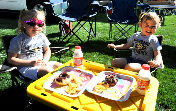 "Camden Holmes, left, 4, and sister Reagan, 3, are set up for tailgating at CU's Franklin Field on September 8, 2012.<br /> For more photos of the game, go to  <a href=""http://www.dailycamera.com"">http://www.dailycamera.com</a><br /> Cliff Grassmick / September 8, 2012"
