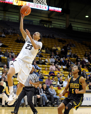 """University of Colorado's Chucky Jeffery goes for a layup on Wednesday, Nov. 30, during a game against the University of San Francisco at the Coors Event Center on the CU campus in Boulder. CU won the game 84-66. For more photos of the game go to  <a href=""""http://www.dailycamera.com"""">http://www.dailycamera.com</a><br /> Photo by Jeremy Papasso"""