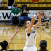 "University of Colorado's Lexy Kresl shoots a three-pointer on Wednesday, Nov. 30, during a game against the University of San Francisco at the Coors Event Center on the CU campus in Boulder. CU won the game 84-66. For more photos of the game go to  <a href=""http://www.dailycamera.com"">http://www.dailycamera.com</a><br /> Photo by Jeremy Papasso"