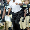 """CU head coach Jon Embree talks to Yuri Wright.<br /> For more photos of the game, go to  <a href=""""http://www.dailycamera.com"""">http://www.dailycamera.com</a>.<br /> Cliff Grassmick / November3, 2012"""