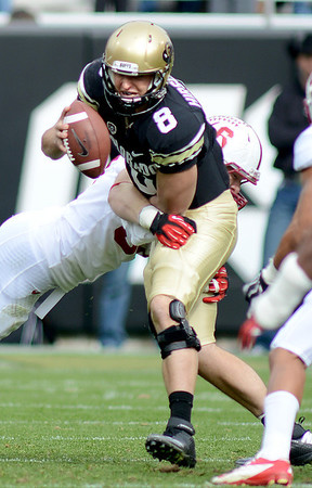 "Trent Murphy of Stanford Pressures Nick Hirschman of Colorado on Saturday.<br /> For more photos of the game, go to  <a href=""http://www.dailycamera.com"">http://www.dailycamera.com</a>.<br /> Cliff Grassmick / November3, 2012"