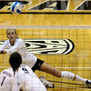 "University of Colorado's Kerra Schroeder saves the ball on Thursday, Nov. 3, during  a volleyball game against Stanford University at the Coors Event Center on the CU campus in Boulder. For more photos of the game go to  <a href=""http://www.dailycamera.com"">http://www.dailycamera.com</a><br /> Jeremy Papasso/ Camera"