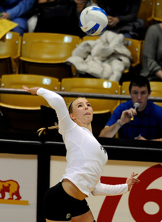 """University of Colorado's Emily Alexis goes for a kill on Thursday, Nov. 3, during  a volleyball game against Stanford University at the Coors Event Center on the CU campus in Boulder. For more photos of the game go to  <a href=""""http://www.dailycamera.com"""">http://www.dailycamera.com</a><br /> Jeremy Papasso/ Camera"""