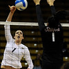 "University of Colorado's Kelsey English goes for a kill over Stanford's Lydia Bai on Thursday, Nov. 3, during  a volleyball game against Stanford University at the Coors Event Center on the CU campus in Boulder. For more photos of the game go to  <a href=""http://www.dailycamera.com"">http://www.dailycamera.com</a><br /> Jeremy Papasso/ Camera"