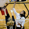 "University of Colorado's Neira Ortiz Ruiz goes for a kill over Stanford's Hayley Spelman on Thursday, Nov. 3, during  a volleyball game against Stanford University at the Coors Event Center on the CU campus in Boulder. For more photos of the game go to  <a href=""http://www.dailycamera.com"">http://www.dailycamera.com</a><br /> Jeremy Papasso/ Camera"