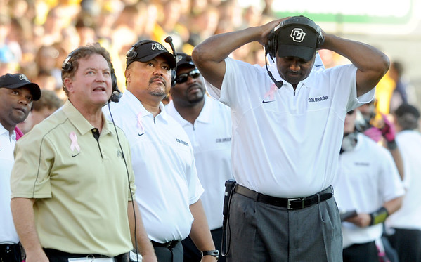 """Greg Brown, left and CU head coach, Jon Embree, are not happy with another UCLA touchdown.<br /> For more photos of the game, go to  <a href=""""http://www.dailycamera.com"""">http://www.dailycamera.com</a><br /> Cliff Grassmick / September 29, 2012"""