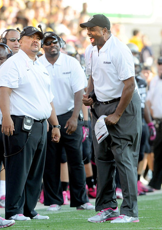 """CU head coach Jon Embree is upset with a UCLA touchdown Saturday.<br /> For more photos of the game, go to  <a href=""""http://www.dailycamera.com"""">http://www.dailycamera.com</a><br /> Cliff Grassmick / September 29, 2012"""