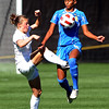 "Hayley Hughes, left, of CU, and Iman Bearde of UCLA, go for the ball.<br /> For more photos of the game, go to  <a href=""http://www.dailycamera.com"">http://www.dailycamera.com</a>.<br /> Cliff Grassmick / September 19, 2010"