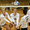 """Kerra Schroeder, left, and Emily Alexus, both of CU, dig the ball out against UCLA.<br /> For more photos of the game, go to  <a href=""""http://www.dailycamera.com"""">http://www.dailycamera.com</a><br /> Cliff Grassmick / October 2, 2011"""
