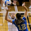 "Nikki Lindow of CU tries to block the shot of Mariana Aquino of UCLA.<br /> For more photos of the game, go to  <a href=""http://www.dailycamera.com"">http://www.dailycamera.com</a><br /> Cliff Grassmick / October 2, 2011"