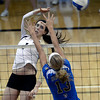 "University of Colorado's Kelsey English goes for a kill over Zoe Nightingale during a volleyball match against UCLA on Friday, Nov. 9, at the Coors Event Center on the CU campus in Boulder. For more photos of the game go to  <a href=""http://www.dailycamera.com"">http://www.dailycamera.com</a><br /> Jeremy Papasso/ Camera"
