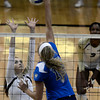 "University of Colorado's Nicole Edelman tries to block a kill from Zoe Nightingale during a volleyball match against UCLA on Friday, Nov. 9, at the Coors Event Center on the CU campus in Boulder. For more photos of the game go to  <a href=""http://www.dailycamera.com"">http://www.dailycamera.com</a><br /> Jeremy Papasso/ Camera"