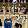 "University of Colorado's Neira Ortiz Ruiz goes for a kill over Becca Strehlow during a volleyball match against UCLA on Friday, Nov. 9, at the Coors Event Center on the CU campus in Boulder. For more photos of the game go to  <a href=""http://www.dailycamera.com"">http://www.dailycamera.com</a><br /> Jeremy Papasso/ Camera"