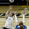 "University of Colorado's Kelsey English goes for a kill during a volleyball match against UCLA on Friday, Nov. 9, at the Coors Event Center on the CU campus in Boulder. For more photos of the game go to  <a href=""http://www.dailycamera.com"">http://www.dailycamera.com</a><br /> Jeremy Papasso/ Camera"
