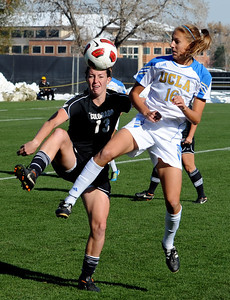 Kate Russell, left, of CU, and Sarah Killion of UCLA, fight for possession of the ball. For more photos of the game, go to www.dailycamera.com. Cliff Grassmick / October 28, 2011