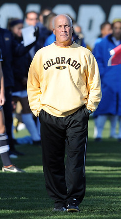 "CU head soccer coach, Bill Hempen, looks over the game against UCLA.<br /> For more photos of the game, go to  <a href=""http://www.dailycamera.com"">http://www.dailycamera.com</a>.<br /> Cliff Grassmick / October 28, 2011"