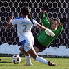 "Sydney Leroux of UCLA, tries to score of her goals past Kayla Millar of CU.<br /> For more photos of the game, go to  <a href=""http://www.dailycamera.com"">http://www.dailycamera.com</a>.<br /> Cliff Grassmick / October 28, 2011"