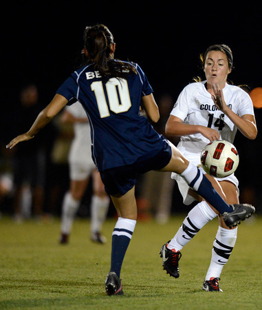 University of Colorado's Emily Paxton fights for the ball with Alexsys Tamayo during a game against the University of Northern Colorado on Friday, Aug. 17, at Jackson Stadium in Greeley. CU won 3-0.<br /> Jeremy Papasso/ Camera
