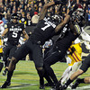 "University of Colorado's Toney Clemons, No. 7, and Paul Richardson try to pull the ball in for a touchdown on Friday, Nov. 4, during a football game against the University of Southern California at Folsom Field on the CU campus in Boulder. The play was an incomplete pass. For more photos of the game go to  <a href=""http://www.dailycamera.com"">http://www.dailycamera.com</a><br /> Jeremy Papasso/ Camera"