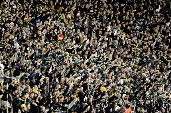 """Folsom Field experienced a blackout in the USC game.<br /> For more photos of CU and USC, go to  <a href=""""http://www.dailycamera.com"""">http://www.dailycamera.com</a>.<br /> November 4, 2011 / Cliff Grassmick"""