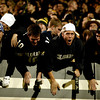 From right to left Jake Kimball, Brian Carpenter, Noah Rosen and Mason Harris make noise as the University of Colorado football team tears up the field November 4 at Folson Field. Photo by Chancey Bush