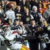 """Marquise Lee of USC stretches out for a catch past Greg Henderson of CU. The play wasn't ruled a TD<br /> For more photos of CU and USC, go to  <a href=""""http://www.dailycamera.com"""">http://www.dailycamera.com</a>.<br /> November 4, 2011 / Cliff Grassmick"""