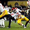 "University of Colorado's Josh Hartigan sacks Southern California quarterback Matt Barkley on Friday, Nov. 4, during a football game against the University of Southern California at Folsom Field on the CU campus in Boulder. CU lost the game 42-17. For more photos of the game go to  <a href=""http://www.dailycamera.com"">http://www.dailycamera.com</a><br /> Jeremy Papasso/ Camera"