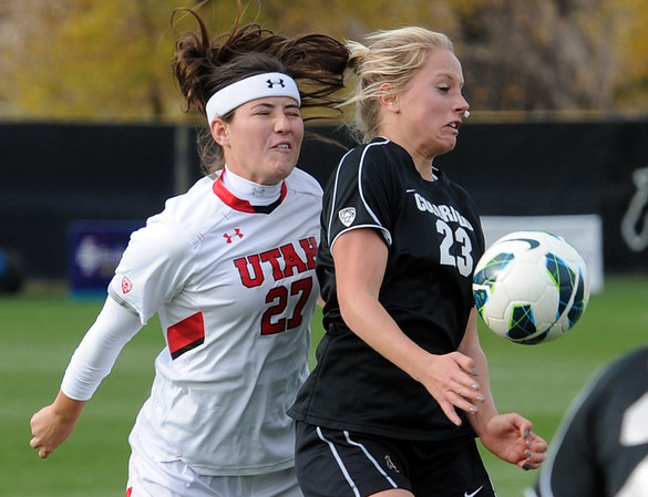 """Anne Stuller (23) of CU controls the ball in front of Harley Spier of Utah.<br /> For more photos from the game, go to  <a href=""""http://www.dailycamera.com"""">http://www.dailycamera.com</a>..<br />  Cliff Grassmick / November 2, 2012"""
