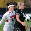 "Anne Stuller (23) of CU controls the ball in front of Harley Spier of Utah.<br /> For more photos from the game, go to  <a href=""http://www.dailycamera.com"">http://www.dailycamera.com</a>..<br />  Cliff Grassmick / November 2, 2012"