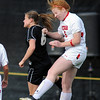 "Hayley Hughes, left, of CU, and Ashton Hall of Utah on the header.<br /> For more photos from the game, go to  <a href=""http://www.dailycamera.com"">http://www.dailycamera.com</a>..<br />  Cliff Grassmick / November 2, 2012"