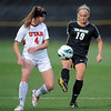 "Lauren Shaner of CU kicks away from Nykell Seymour of Utah on Friday.<br /> For more photos from the game, go to  <a href=""http://www.dailycamera.com"">http://www.dailycamera.com</a>..<br />  Cliff Grassmick / November 2, 2012"