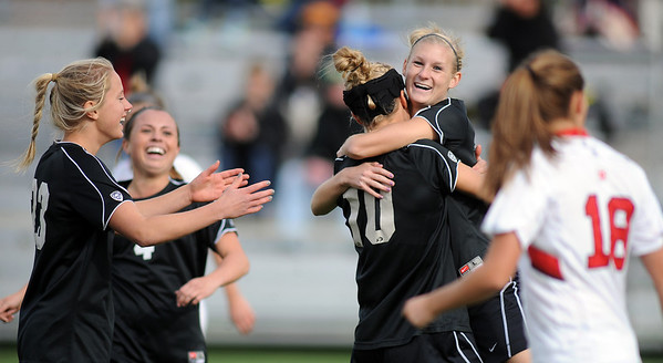 """Shaye  Marshall, right, of CU, celebrates her goal with Amy Barczuk (10), against Utah.<br /> For more photos from the game, go to  <a href=""""http://www.dailycamera.com"""">http://www.dailycamera.com</a>..<br />  Cliff Grassmick / November 2, 2012"""