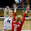 "University of Colorado's Emily Alexis goes for a kill over Morgan Odale during a game against the University of Utah on Wednesday, Sept. 19, at the Coors Event Center in Boulder. For more photos of the game go to  <a href=""http://www.dailycamera.com"">http://www.dailycamera.com</a><br /> Jeremy Papasso/ Camera"