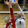 "University of Colorado's Kelsey English blocks a kill from Morgan Odale during a game against the University of Utah on Wednesday, Sept. 19, at the Coors Event Center in Boulder. For more photos of the game go to  <a href=""http://www.dailycamera.com"">http://www.dailycamera.com</a><br /> Jeremy Papasso/ Camera"