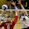 "University of Colorado's Nikki Lindow tries to block a kill from Morgan Odale during a game against the University of Utah on Wednesday, Sept. 19, at the Coors Event Center in Boulder. For more photos of the game go to  <a href=""http://www.dailycamera.com"">http://www.dailycamera.com</a><br /> Jeremy Papasso/ Camera"