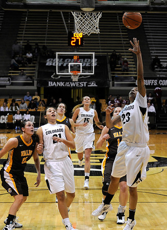 "University of Colorado's Chucky Jeffery shoots a layup on Friday, Nov. 25, during a basketball game against Valparaiso University at the Coors Event Center on the CU campus in Boulder. For more photos of the game go to  <a href=""http://www.dailycamera.com"">http://www.dailycamera.com</a><br /> Photo by Jeremy Papasso"